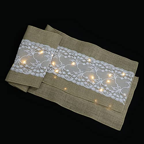 UKCOCO Bufanda de La Mesa de La Boda Amarilla del Corredor de La Mesa de La Boda del LED con La Tela Ligera Camino de La Mesa del Tocador de La Mesa del Comedor Decoración de La Bufanda