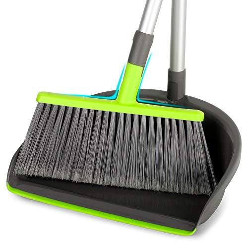 新型のほうき&ちりとりセット 収納に便利 掃除道具 掃き掃除 ほうき・ちりとりセット 掃除セット (緑)