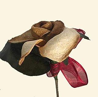 rosa in buccia di bergamotto con stelo in legno di ulivo