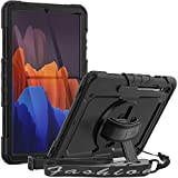 SEYMAC Galaxy Tab S7 Plus 12.4 Case 2020 (SM-T970/T975/T976), Full Protection Shockproof Case with Screen Protector/S Pen Holder, 360 Degree Hand Strap Stand Cover for Samsung Tab S7 Plus 2020, Black