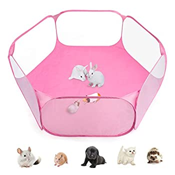 Casifor Guinea Pig Cage Rabbit Cage with Mat Playpen Perfect Size for Small Animal Pet Play Pen Easy to Clean Exercise Yard Fence Portable Tent for Hamsters Hedgehog Puppy Cats  Pink Waterproof