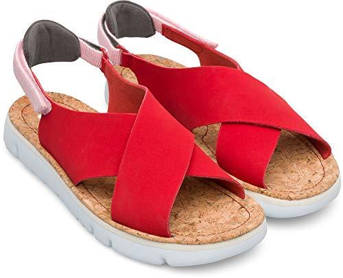 Camper Womens Oruga K200157 Nubuck Textile Red Sandals 6 US