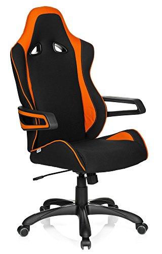 HJH Office 621842 Sedia da Gaming/Sedia da Ufficio Racer PRO ll Tessuto Nero Arancione, con braccioli fissi, Ideale per Giocatori, Racer, Sedile da Corsa, Supporto Laterale, meccanismo oscillante