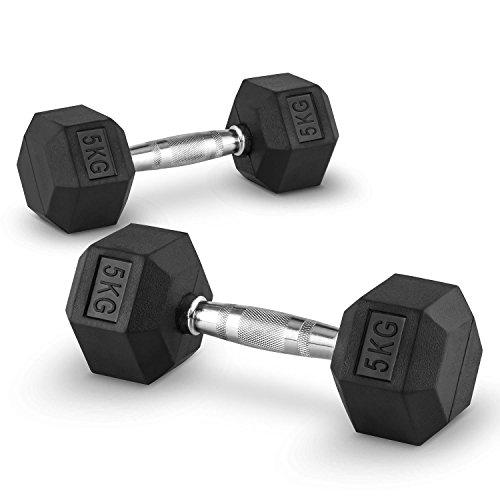 Capital Sports Hexbell - Kurzhantel, Kurzhantel-Set, Dumbbell, Zwei Kurzhanteln, 5 kg, rutschsichere, verchromte Hantelgriffe, Hantelköpfe, Cross-Trainig, Functional Training etc, schwarz