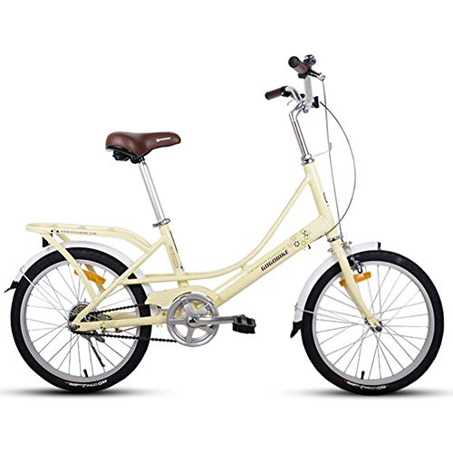 CWZY Adults 20' Folding Bikes, Light Weight Folding Bike with Rear Carry Rack, Single Speed Foldable Compact Bicycle, Aluminum Alloy Frame,Light Yellow