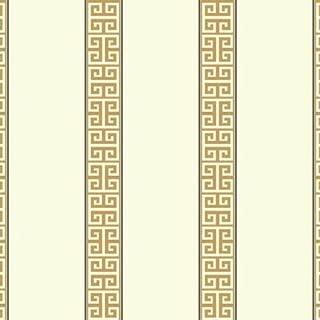 York Wallcoverings Waverly Stripes Greek Key Stripe Removable Wallpaper, White/Gold/Black