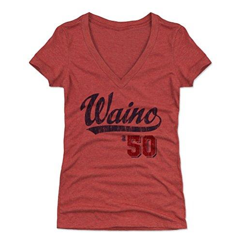 500 LEVEL Adam Wainwright Women's V-Neck Shirt Medium Tri Red - St. Louis Baseball Women's Apparel - Adam Wainwright Players Weekend B