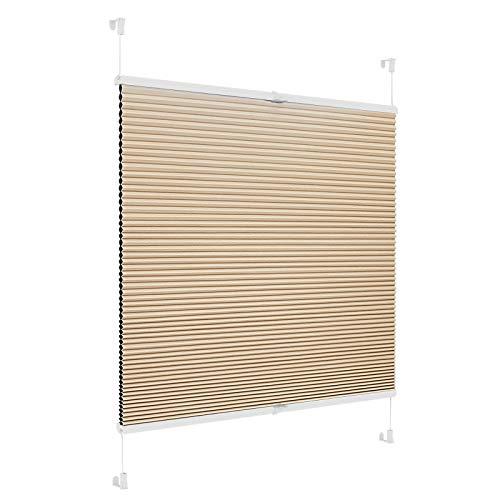 SBARTAR Klemmfix Wabenplissee Doppel-Plissee Easyfix für Fenster und Tür Verdunkelung Jalousie ohne Bohren Weiß-Beige 70x120cm
