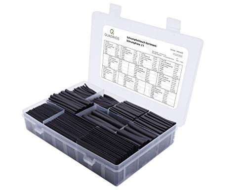QUADRIOS GmbH großes Schrumpfschlauch Set Sortiment 800 Stück Industriequalität 1,5 mm bis 12 mm Schrumpfrate 2:1 Längen: 45-65 mm halogenfrei übersichtlich sortiert Sortimentskasten mit RoHS/REACH