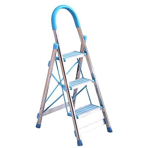 Taburete de escalera ZCJB Azul Escaleras Plegables, Casa Plegable Taburete con Pasamanos de Esponja y Pie Antideslizante, Fácil de Almacenar Taburete ⭐