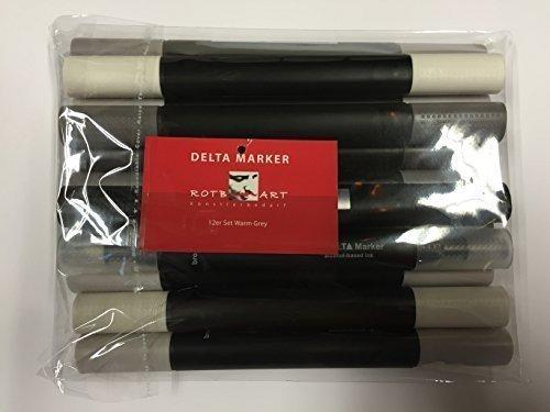 DMSWG-OT - Delta Marker, 12er Set Warm Grey, Die bewährten Twin/Zwilling Marker - mit einer breiten und einer feinen Spitze