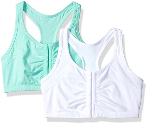 Fruit of the Loom Women's 2 Pk Front Close Racerback, Mint Chip/White Ck, 36