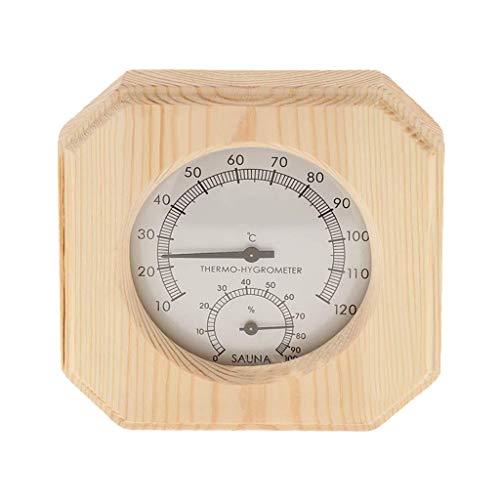 Happy event 2 in 1 dekoratives Holzthermometer/Hygrometer/Hygrothermograph für Saunaraum - Achteckig - 5,5 Zoll Durchmesser Zifferblatt