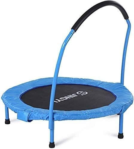 LuoMei Small Trampoline Rebounder for Adults Kids Fitness Trampolines Trainer with Adjustable Handle Bar for Indoor and Outdoor/Garden/Yoga Workout Exerciseblue