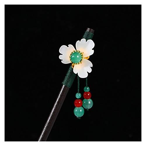 YUMYANJIN Hairpin Chinese Style Old Costume Hairpin Wood Imitation Jade Flower Step Swing Wood Hair Fork Girl Hanfu Headdress Decorate (Farbe : Green Beads)