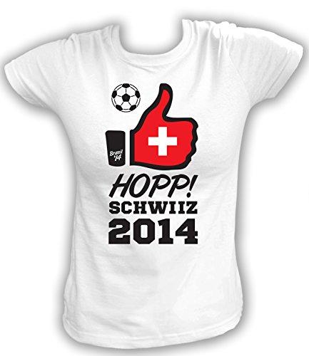 Artdiktat Damen Fan T-Shirt - Hopp Schwiiz - 2014 - Like Brasil 14 Größe XXL, weiß