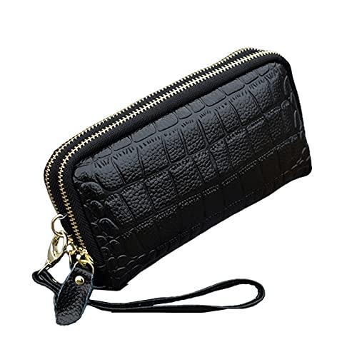 SKYXIU Cartera de doble cremallera embrague bolso de las señoras monedero nuevo bolso de la cartera de cuero de la PU bolsa de la moneda para