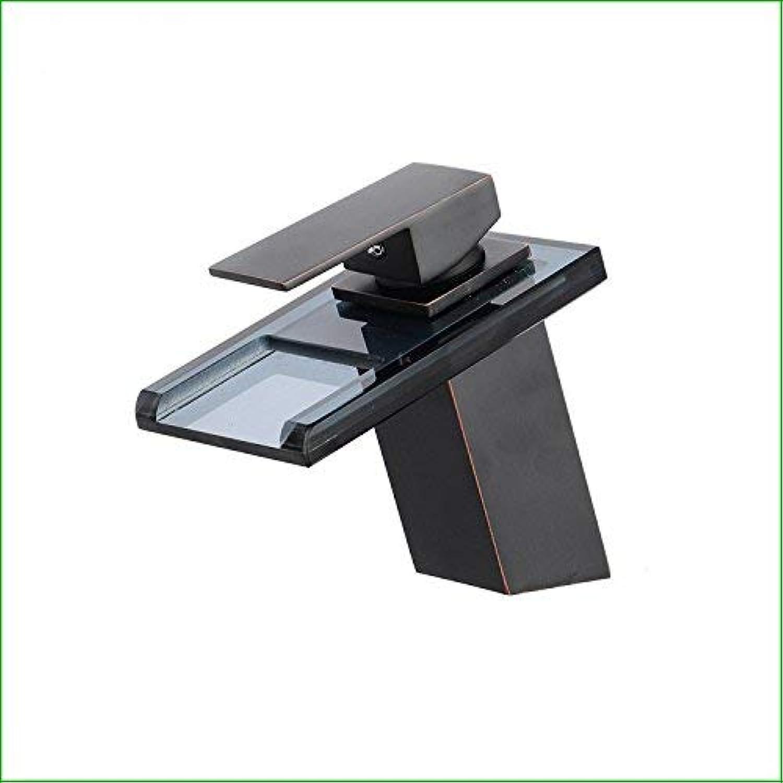 Oudan All copper black bronze black glass shower basin faucet