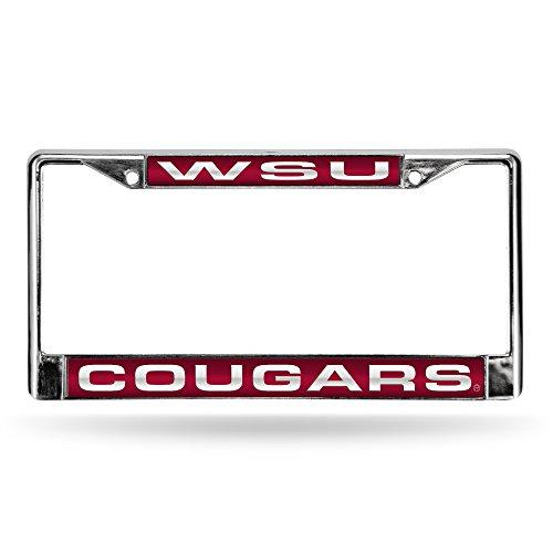 NCAA Rico Industries Laser Cut Inlaid Standard Chrome License Plate Frame, Washington State Cougars