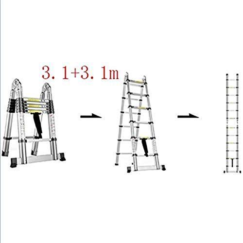 IREANJ Escalera, Multi-función Escalera Plegable de Aluminio, Escalera telescópica portátil, Bricolaje Escalera Extensible, Capacidad de Carga 150 kg Escaleras (Color : 3.1+3.1m)