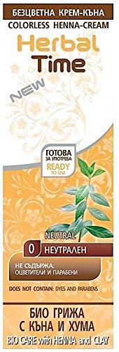 Crème colorante capillaire avec du Henné et à l'argile, Couleur Neutrel, Sans Ammoniaque, Sans Sulfate, Sans Parabens