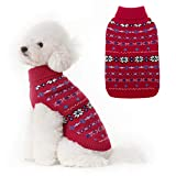 Classic Snowflake Dog Sweater - Soft Thickening Dog Cat Warm Coat Apparel, Winter Knitwear Pet Clothes for Cold Weather