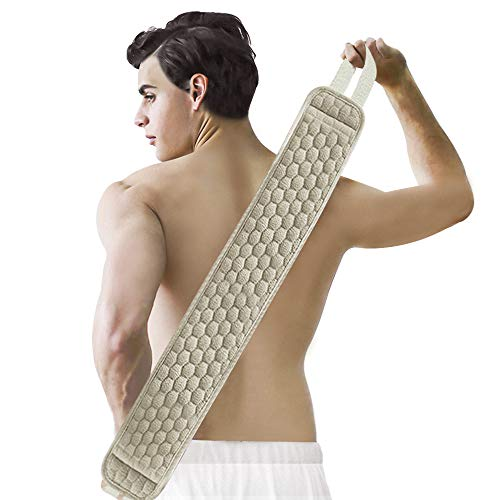 Suntee Exfoliating Back Scrubber & Exfoliating Sponge Pad Set for Shower, Bath Shower Scrubber for Men and Women, Luffa Scrubber to Deep Clean Relax Your Body (38.6''length 4.7 '' width)