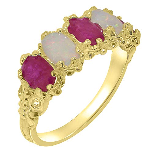 9ct Yellow Gold Natural Ruby & Opal Womens Eternity Ring - Size P -Sizes J to Z Available