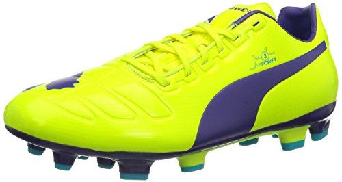 PUMA Evopower 3 FG, Scarpe da Calcio Uomo, Arancione (Giallo Fluo-Viola-Blu 04), 42 EU