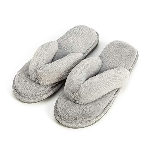 Damen Cosy Bequeme Hausschuh Warmer Plüsch Flip Flops Baumwolle Hausschuhe Rutschfeste Haus Indoor Outdoor Pantoffeln für Herbst/Winter