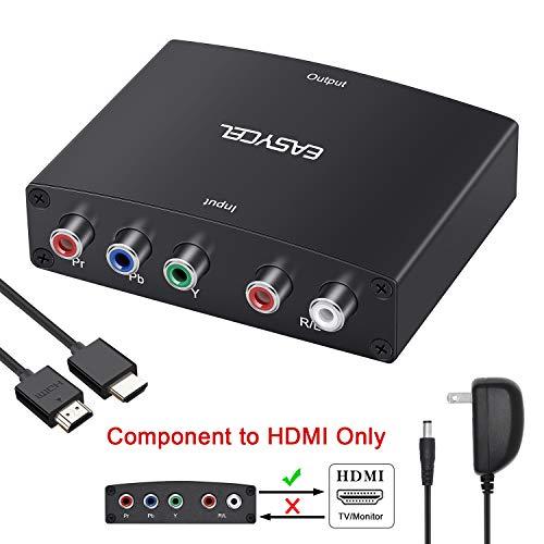 EASYCEL Component to HDMI Converter, 1080P 5RCA RGB YPbPr to HDMI Converter(HDMI Cable Included)