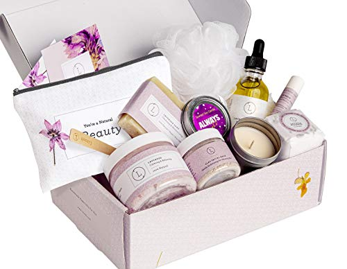 Spa Gift Set, Handmade Lavender Gift Box, Relaxing 9 pcs Package for Women, Including Soap Bar, Facial Mask, Shower Streamer, Scrub, Body Oil, Lip Balm, Cosmetic Bag, Soy Candle & Sponge by Lizush