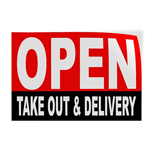 Decal Stickers Multiple Sizes Open Take-Out & Delivery Cafe Restaurant Grocery Liquor Red Black Industrial Vinyl Safety Sign Label Business 14x10Inches