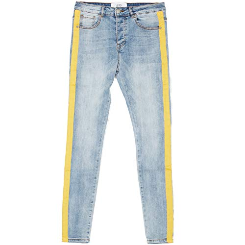 Sixth June Jeans Streifen Blau Gelb Gr. 36 DE/XL, blau