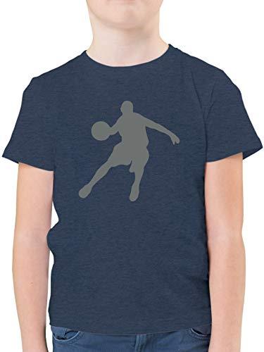 Sport Kind - Basketballspieler - 104 (3/4 Jahre) - Dunkelblau Meliert - Basketball Kinder Shirt - F130K - Kinder Tshirts und T-Shirt für Jungen