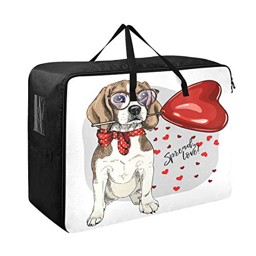 Large Storage Bins Cute Colorful Dog Love Heart Designer Blankets Clothes Bedspread Storage Bag Fabric Closet Organization Sweater Duvet Storage Bags for Storing Bulky Bedding Accessories Wardrobe