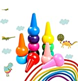 MERIT OCEAN Toddler Crayons,12 Colors 3D Palm-grip Crayons and 6...