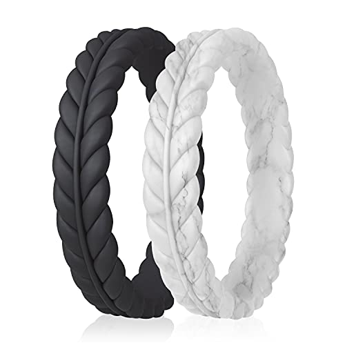 ROQ Silicone Rings for Women - Lavender Leaves Unique Design Womens Silicone Wedding Rubber Rings Bands - Black, Marble Colors - Size 10