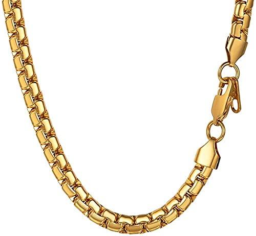 HUIQ de Cadena Larga Collar Hombres Chapado en Oro de Acero Inoxidable de Acero Inoxidable joyería de joyería de niño Regalo 6mm 30 Pulgadas