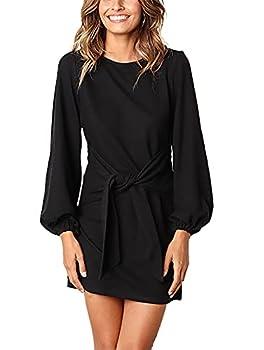 PRETTYGARDEN Women's Elegant Long Lantern Sleeve Short Dress Crewneck Tie Waist Knit Cocktail Dress Black