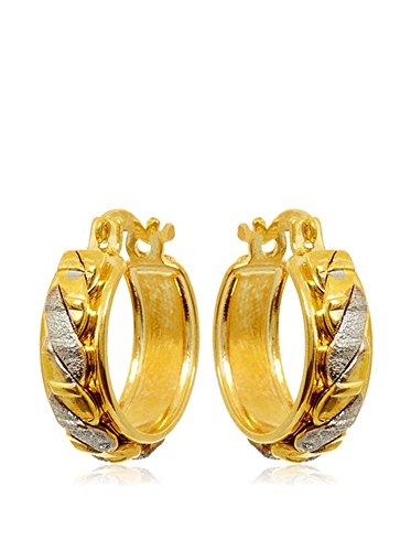 Córdoba Jewels | Pendientes en goldfilled laminado de oro 14/20. Diseño Aro Filas Bicolor