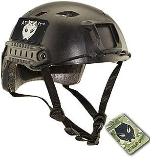 ATAIRSOFT Fast BJタイプ タクティカル アウトドア エアソフトヘルメット 米軍風 多機能サバゲーヘルメット NVGマウントレール付き ABS製 戦術ヘルメット ブラック BK