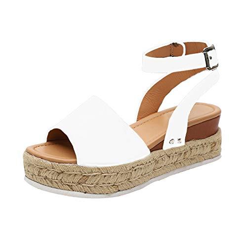 Sandalias Mujer con Sandalias Wedge Plateau con Correa en el Tobillo Sandalias Bajas de Verano Alpargatas de Punta Abierta Zapatos Elegantes para Mujer Cómodos (38 EU, Blanco)