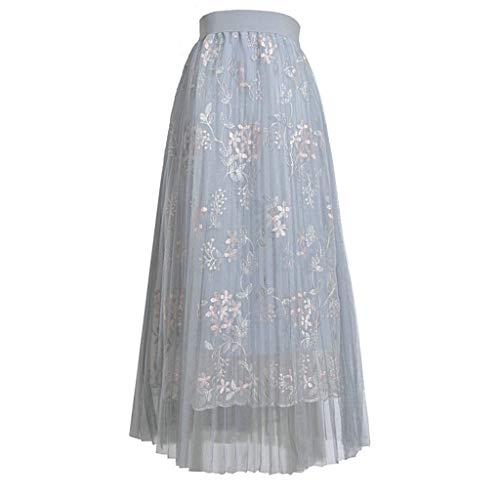 Deelin dames mode retro rok grote swing dubbellaags plissé borduurwerk tule patchwork lang maxirok hoge taille tutu rok eenheidsmaat