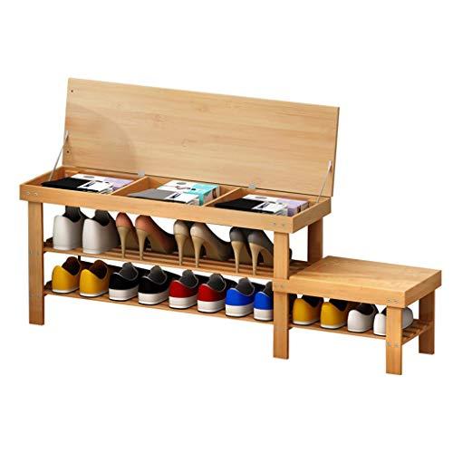 FACAZ Bambú 2 Niveles Zapatero Gabinete de Almacenamiento Organizador Estantes Pasillo Creativo Banco de Zapatos para niños (127 y Tiempos; 27 y Tiempos; 45 cm)