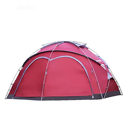 VLOU Outdoor multi-person large tent outdoor climbing park fishing grassland yurt canopy tent 1room,red