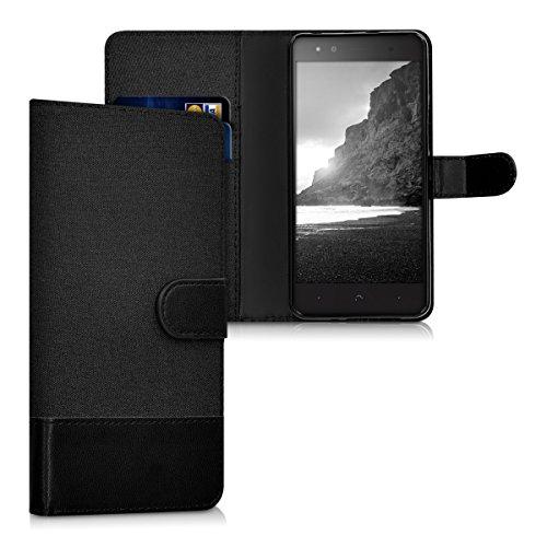 kwmobile bq Aquaris X5 Plus Hülle - Kunstleder Wallet Case für bq Aquaris X5 Plus mit Kartenfächern & Stand - Anthrazit Schwarz
