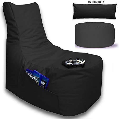 Sitzsack 3er Set Big Gamer Sessel mit EPS Sytropor Füllung - Rückenkissen - Hocker - In & Outdoor Sitzsäcke Sessel Kissen Sofa Sitzkissen Bodenkissen (Big Gamer Sitzsack 3er Set Uni Farbe, Schwarz)