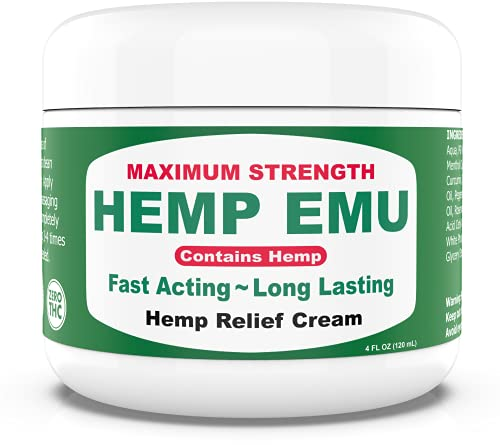 Hemp Emu Cream - Natural Hemp Cream for Discomfort in Joints, Muscles, Back, Knees, Elbows, Fingers - Made In USA - Maximum Strength Hemp Oil Extract with Emu Oil, Menthol & Natural Oils - 4oz