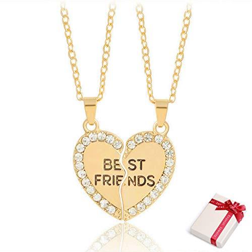 2 Stück Freundschaftskette Mädchen Gold Paare Kette mit Strass Herz Puzzle Anhänger Gravur